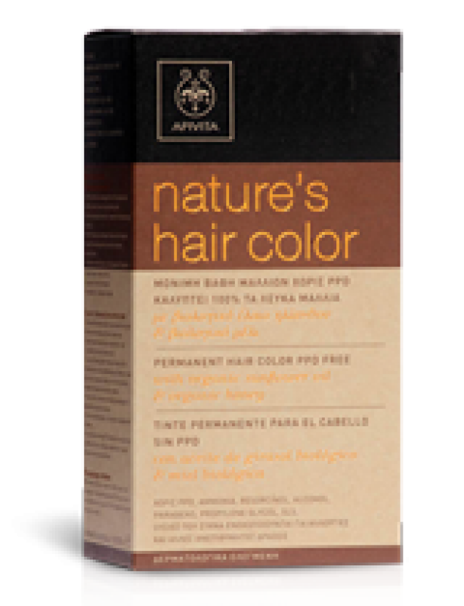 APIVITA NATURE'S HAIR COLOR N6,44 ΣΚΟΥΡΟ ΧΑΛΚΙΝΟ, 50ML
