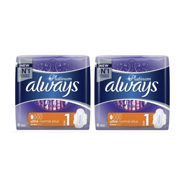Always Platinum Ultra Normal Plus(1+1) Δώρο,2 χ 8 Τεμάχια