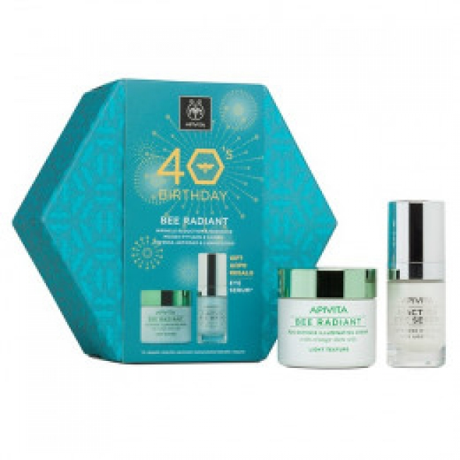 Apivita 40 Years Birthday Set Bee Radiant Κρέμα Πλούσιας Υφής 50ml & Δώρο 5 Action Serum 15ml