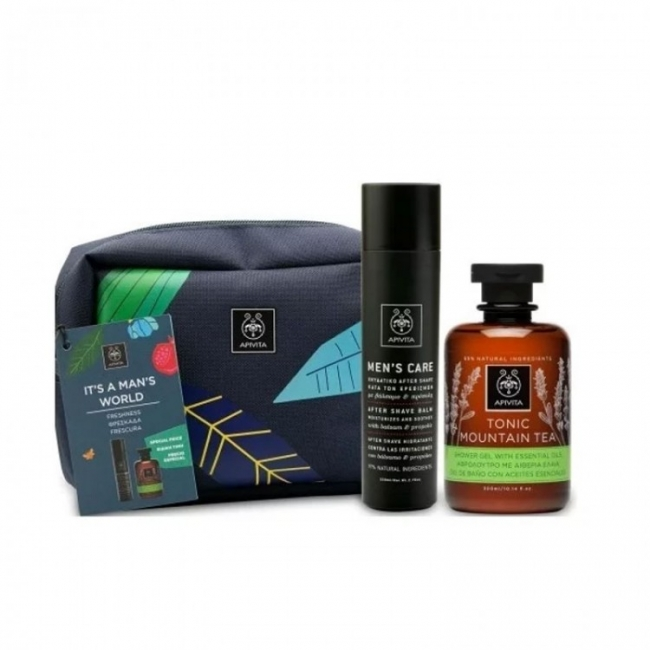 Apivita It's Man's World Φρεσκάδα Men's Care Ενυδατικό After Shave, 100ml & Tonic Mountain Tea Αφρόλουτρο, 300ml