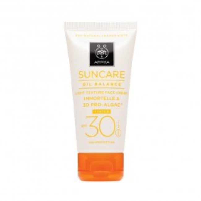 Apivita Suncare Oil Balance Tinted Light Texture Face Cream SPF30 με Eλίχρυσο & 3D Pro-Algae 50ml