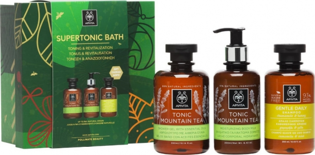 Apivita Supertonic Bath Tonic Mountain Showergel 300 ml & Tonic Mountain Tea Body Milk 200 ml & Gentle Daily Shampoo with 250 ml