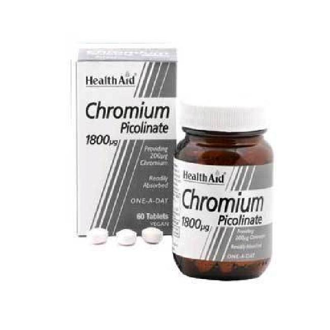 Health Aid Chromium Picolinate 1800mg, 60ταμπλέτες