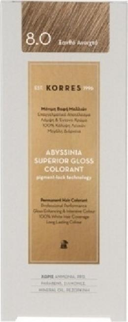 Korres Abyssinia Superior Gloss Colorant No 8.0 Ξανθό Ανοιχτό, 50ml