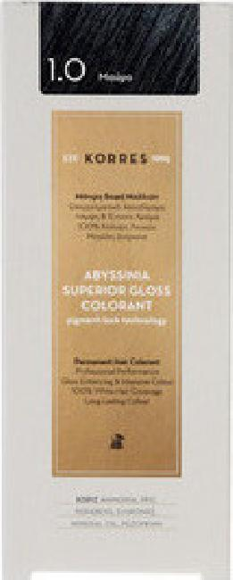 Korres Abyssinia Superior Gloss Colorant No 1.0 Μαύρο, 50ml