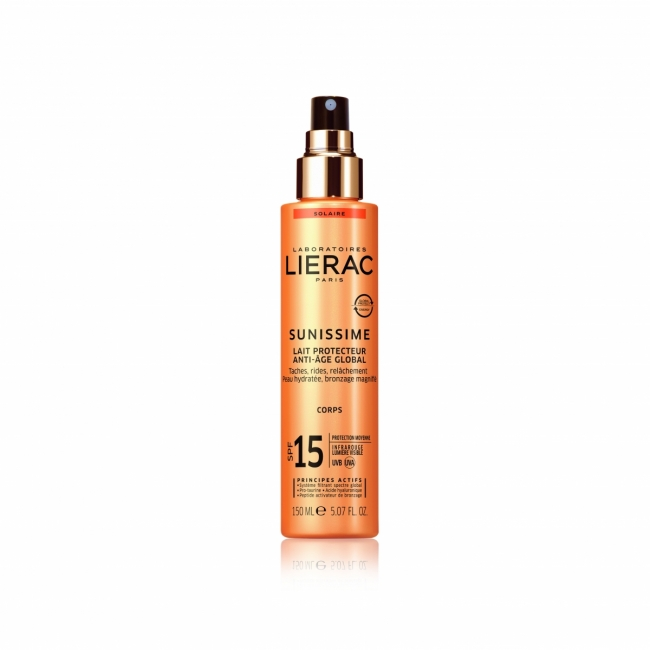 Lierac Sunissime Lait Protecteur Anti-Age Global Spf15 Αντηλιακό Γαλάκτωμα Σώματος 150ml