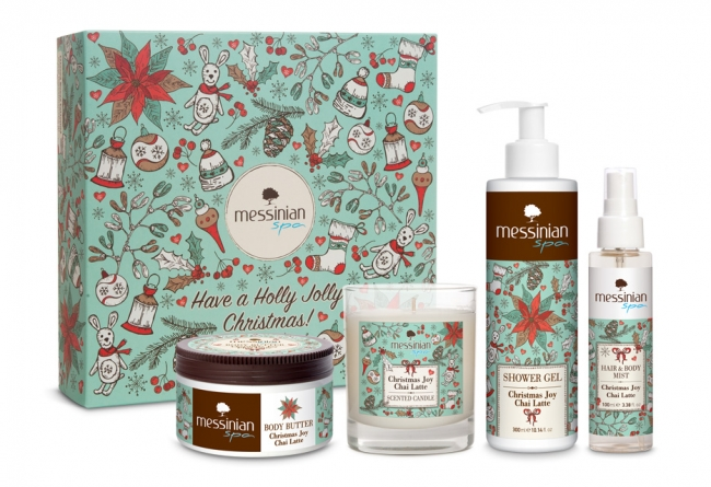 Messinian Spa Christmas Joy - Chai Latte (Body Butter 250ml, Showergel 300ml, Hair & Body Mist 100ml + κερί )