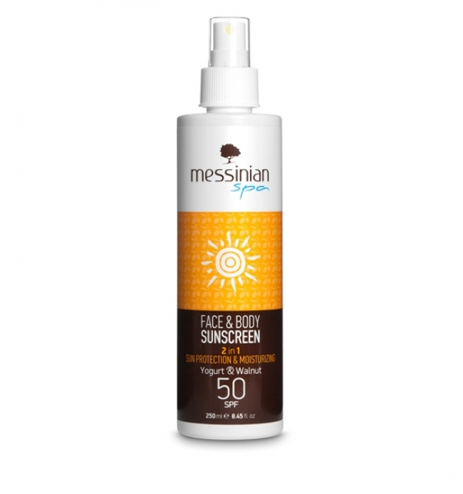 Messinian Spa Face & Body Sunscreen 2 in 1 Protecting & Moisturizing Yoghurt & Walnut SPF50 250ml