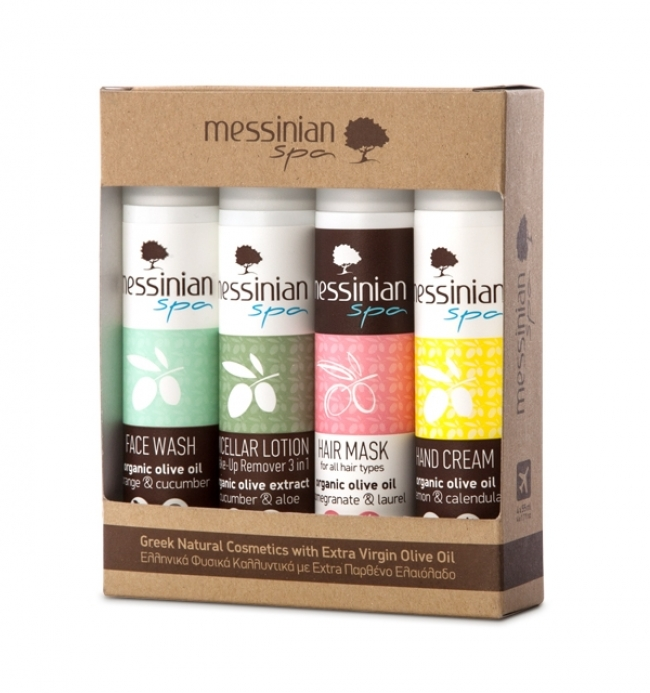 Messinian Spa Travel Kit Νο2 (Face Wash,Micellar Lotion,Hair Mask,Hand Cream:4x55ml)