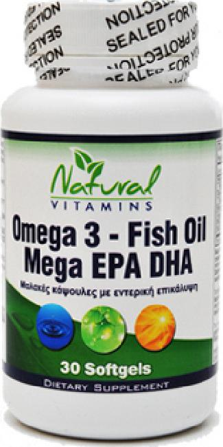 Natural Vitamins Omega 3 - Fish Oil Mega EPA DHA 30softgels