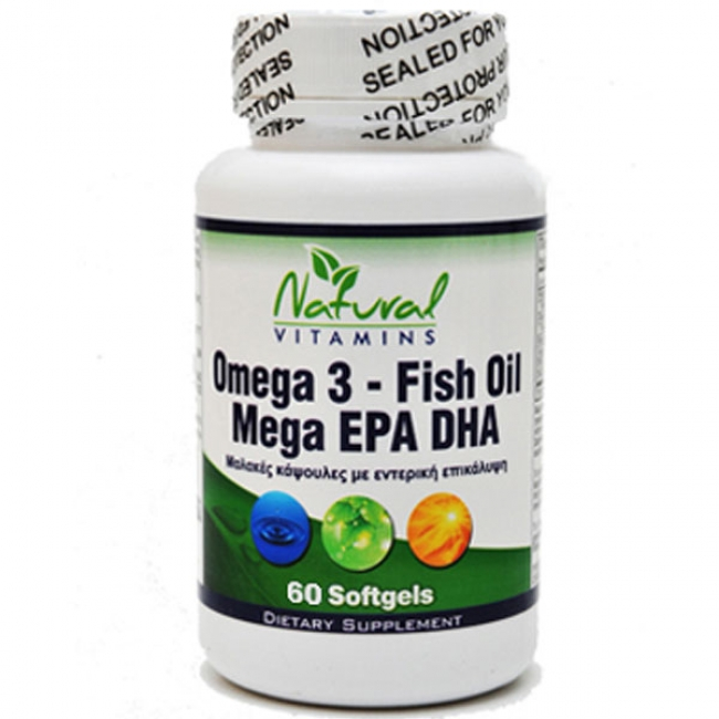 Natural Vitamins Omega 3-Fish Oil 1000mg-700mg Epa-Dha 60 Softgels