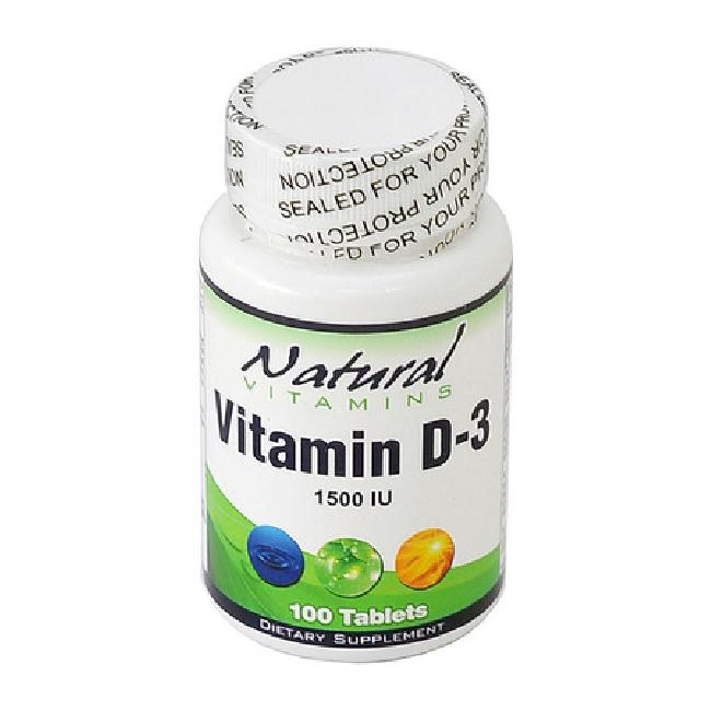 Natural Vitamins Vitamin D-3 1500IU , 100 Ταμπλέτες