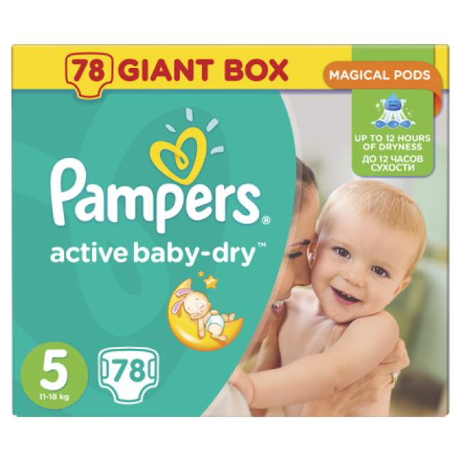 Pampers Active Baby Dry Giant Pack No.5 , 78 Τεμάχια