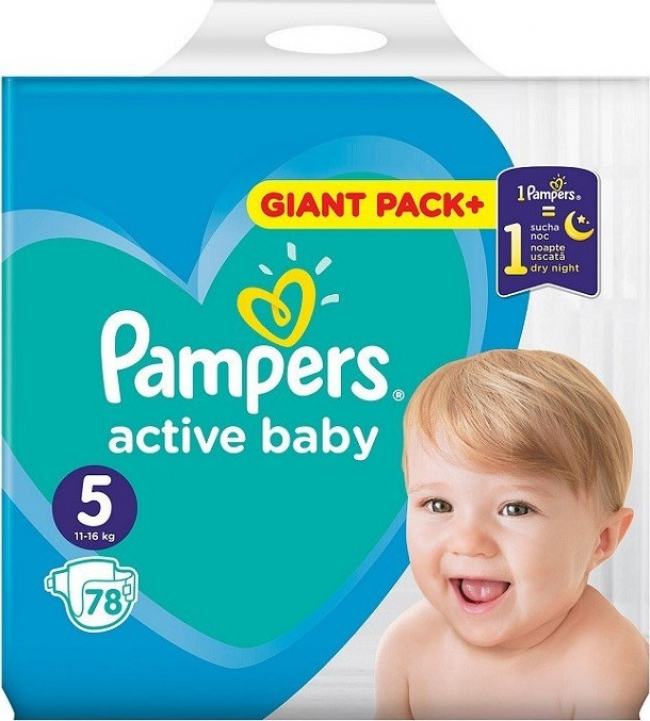 Pampers Active Baby Dry Giant Box No 5 (11-16kg) , 78 Τεμάχια
