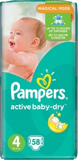 Pampers Active Baby Dry Jumbo Pack No.4 (Maxi) (8-14kg) , 58 Τεμάχια