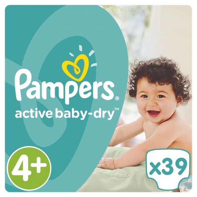 Pampers Active Baby Dry No.4+ (Maxi+), 39 Τεμάχια