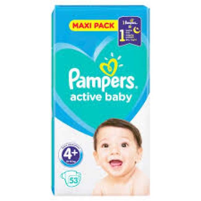 Pampers Active Baby Maxi Pack No4+ (10 - 15kg) 53 Τεμάχια