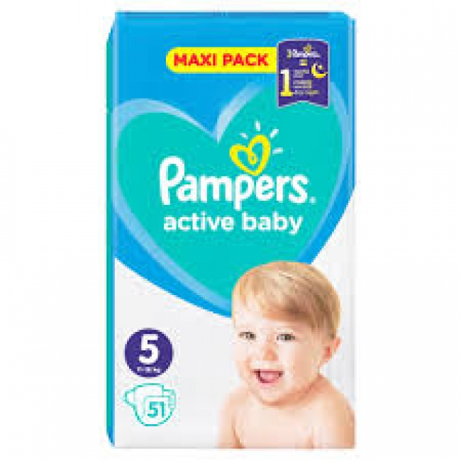 Pampers Active Baby Maxi Pack No5 (11 - 16kg) 51 Τεμάχια
