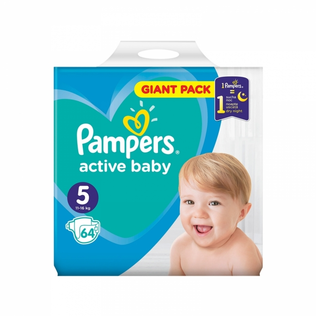 Pampers Active Baby No5 (11-16kg) Giant Box Πάνες 64τμχ
