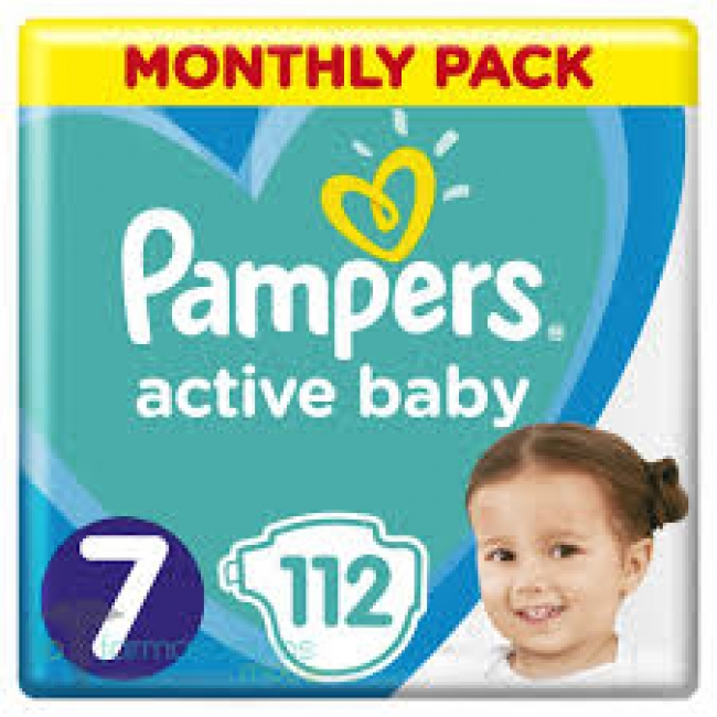 Pampers Active Baby Πάνες Monthly Pack No7 (15+ kg) , 112 Πάνες