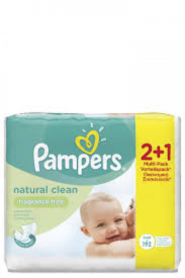 Pampers Natural Clean Wipes (2+1 Δώρο) Μωρομάντηλα Για Την Αλλαγή Πάνας, 3 x 64 Τεμάχια