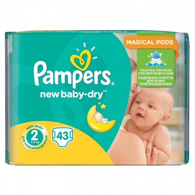 Pampers New Baby Dry No 2 (3-6Kg) , 43 Τεμάχια
