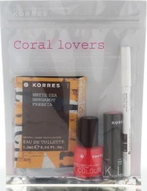 Korres Promo Coral Lovers ( Nail Colour 45 Coral 11ml + Lipstick 45 Coral 3.5gr + Eyeliner Pencil Brown 1.14gr )