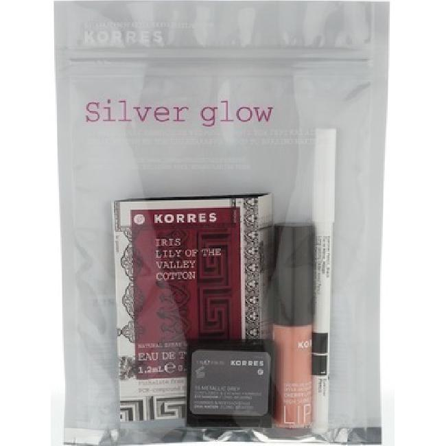 Korres Promo Silver Glow ( Metallic Grey Eyeshadow 1.8gr + Cherry Lipgloss 6ml +Eyeliner Pencil Black 1.14gr )