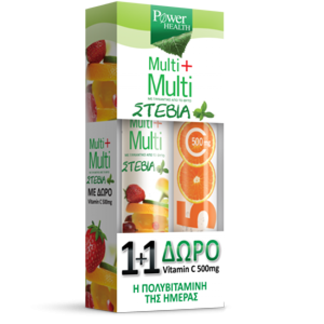Power Health Multi+Multi 24tabs Stevia+Vitamin c 500mg tabs