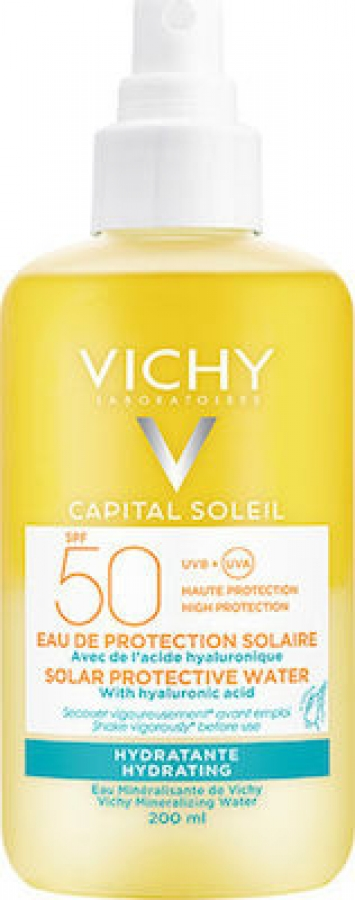 Vichy Capital Soleil Protective Water Hydrating SPF50 Αντηλιακό Νερό Υψηλής Προστασίας με Υαλουρονικό Οξύ 200ml