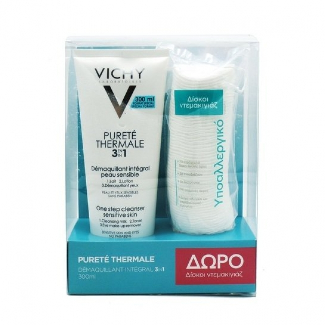 Vichy Purete Thermal 3 in 1 300ml Δώρο Δίσκοι Ντεμακιγιάζ