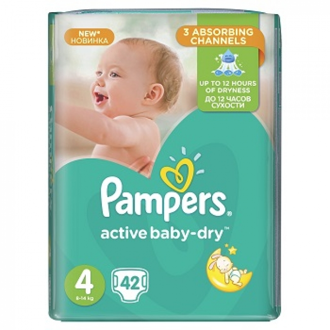 Pampers Active Baby Dry No.4 (Maxi) , 42 Τεμάχια